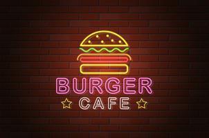 glödande neon skylt burger cafe vektor illustration