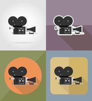 gammal filmkamera platt ikoner vektor illustration
