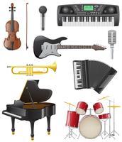 stellen Sie Ikonen der Musikinstrumentvektorillustration ein