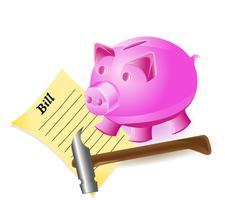 pengar-box är en gris hammer och bill vektor