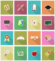 skolundervisning platt ikoner vektor illustration
