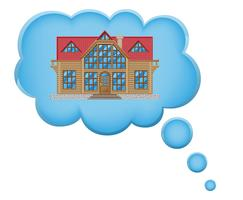 Konzept des Traums eines Hauses in der Wolkenvektorillustration