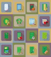 Gericht Spielplatz Stadion und Feld für flache Ikonen der Sportspiele
