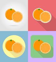 Gesetzte Ikonen der orange Fruchtflache mit der Schattenvektorillustration vektor