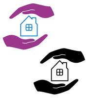 begrepp skydd och kärlek till hus vektor illustration