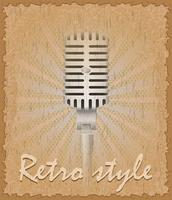 retro stil affisch gammal mikrofon vektor illustration