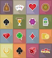 casino objekt och utrustning platt ikoner vektor illustration