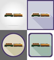 Leverans med järnvägståg platt ikoner vektor illustration