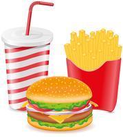 Cheeseburger Pommes frites Kartoffel und Pappbecher mit Soda