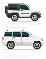 Auto-Jeep weg von der Straße SUV-Vektorillustration