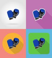 Vektor-Illustration der flachen Handschuhe der Boxhandschuhe