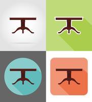 Ikonen-Vektorillustration der Tischmöbel flache flache eingestellt