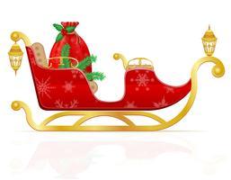 roter Weihnachtsschlitten von Weihnachtsmann mit Geschenken vector Illustration