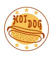 Logo-Hotdog für Schnellimbissvektorillustration