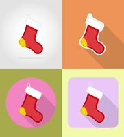 flache Ikonen des Weihnachten und des neuen Jahres vector Illustration