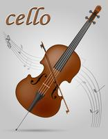 Vektorillustration der Cello-Musikinstrumente auf Lager