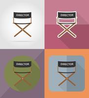 Ikonen-Vektorillustration des Regisseurfilmstuhls flache vektor