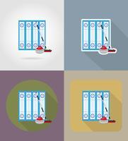 Spielplatz für Curling-Sport-Spiel flache Icons Vektor-Illustration
