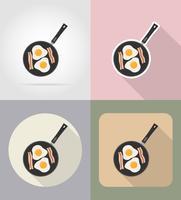 Eier mit Speck in einem Bratpfannenlebensmittel und flache Ikonen der Gegenstände vector Illustration