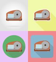 Schneidemaschine-Haushaltsgeräte für flache Ikonen der Küche vector Illustration