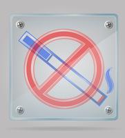 transparentes Zeichen nicht rauchen auf der Plattenvektorillustration