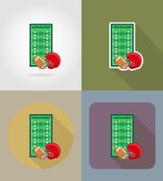 fält för amerikansk fotboll platt ikoner vektor illustration