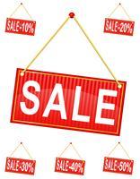 roter Zeichenaufkleber mit dem Aufschriftverkauf, der an einer Seilvektorillustration hängt