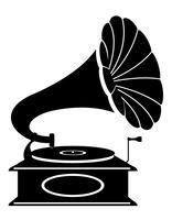 Weinleseikonenvorrat-Vektorillustration des Grammophons alte Retro