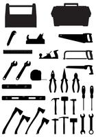 schwarze Schattenbildsatzwerkzeugikonen-Vektorillustration