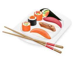 vielfältiger Satz Sushi mit Essstäbchen auf einer Plattenvektorillustration