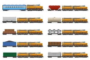 Stellen Sie Ikonen Eisenbahnzug mit Lokomotive und Wagenvektorillustration ein vektor