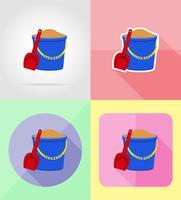 Flache Ikonen des Plastikeimers und der Schaufel vector Illustration