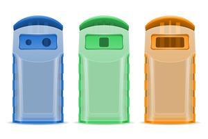 Plastikmüllcontainerabfall, der Vektorillustration sortiert