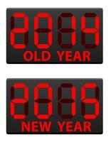 Elektronische Anzeigetafel alt und die Vektorillustration des neuen Jahres