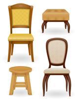 set ikoner möbler stolstol och puff vektor illustration