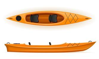 Kajak aus Kunststoff für die Fischerei und Tourismus-Vektor-Illustration