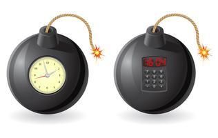 schwarze Bombe mit einer brennenden Sicherung und Uhrwerk-Vektorillustration vektor
