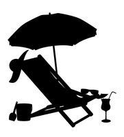 Schattenbild der Strandstühle und der Regenschirmvektorillustration