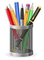 Set Icons Stift und Bleistift-Vektor-Illustration