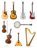 Aufgereihte Musikinstrumentvorrat-Vektorillustration
