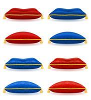 rotes blaues Kissen mit Goldseil und Quasten vector Illustration