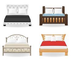 gesetzte Ikonenmöbel-Doppelbett-Vektorillustration