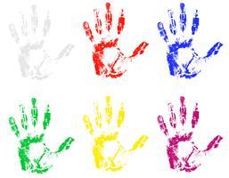 handavtryck av olika färger vektor illustration