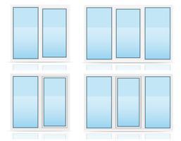 transparente Fensteransicht aus Kunststoff drinnen und draußen Vektor-Illustration vektor