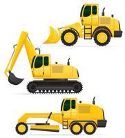 Autoausrüstung für Straßenarbeiten-Vektorillustration