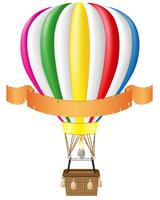 Heißluftballon und leere Banner-Vektor-Illustration