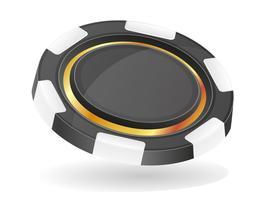schwarze Casino-Chips-Vektor-Illustration