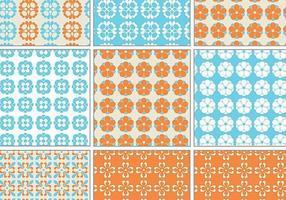 Blauer und orange Retro Vektormuster-Satz
