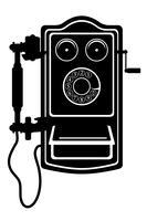 telefon gammal retro vintage ikon lager vektor illustration svart skiss silhuett