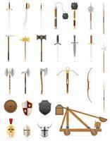 Ikonen der alten Kampfwaffen stellten auf Lager Vektorillustration ein